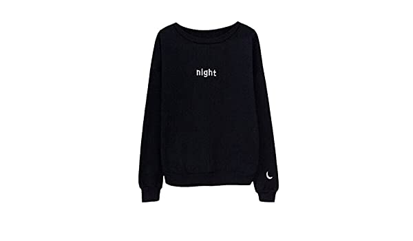Amazon.com: OnIn Letters Day&Night Embroidered Sweatshirt Women Long Sleeve Hoodie Loose Sweatshirts WhiteXX-Large: Clothing