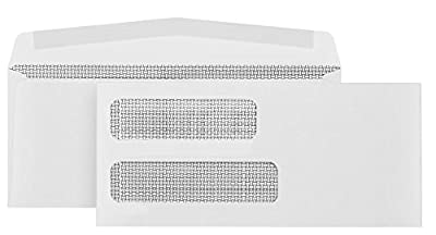 500 #10 Gummed Double Window Security Envelopes-Perfect size for Multiple Business Statements, Quickbooks Invoices, and Return Envelopes -4 1/8 X 9 ½''
