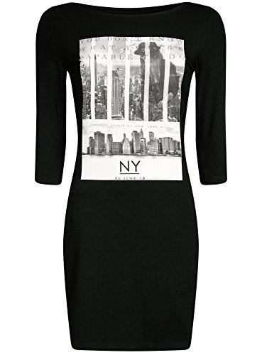 cheaper 33bc8 6d54b ... oodji Ultra Mujer Vestido de Punto con Estampado Negro (2900P)