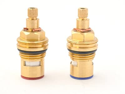 "Replacement Brass Ceramic stem Disc cartridge Faucet Valve Quarter turn PAIR 1/2"" fits PAINI (52mm short stem)"