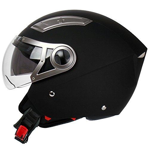Mach1® Jethelm Helme Motorradhelm Helm schwarz Roller Scooter in den Gr.XS bis Gr.XXL mit Sonnenblende (Schwarz-matt mit kurzes Visier, 59-60cm (L))