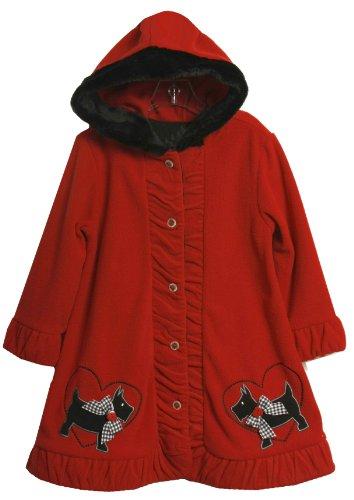 Bonnie Jean Little Girls'  Scotty Applique Fleece Hooded Coat