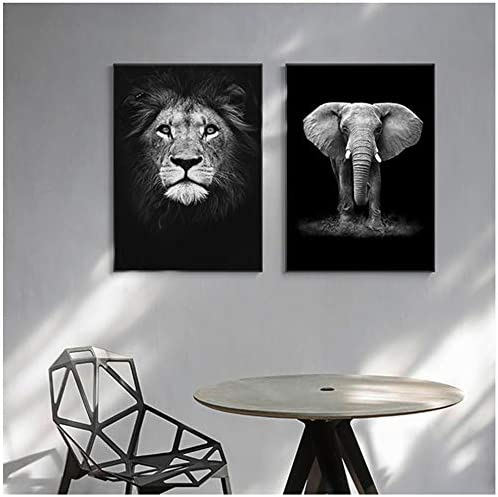 ポスターキャンバスノルディックブラックnホワイトアニマルアート象の壁写真用リビングルーム抽象壁アート装飾-50×70センチフレームなし