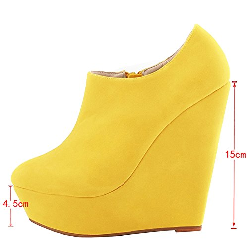 EKS Women's Damiasu Wedge Heels Platform Pure Color Zipper Dress Boots Yellow yt6fIHsMu