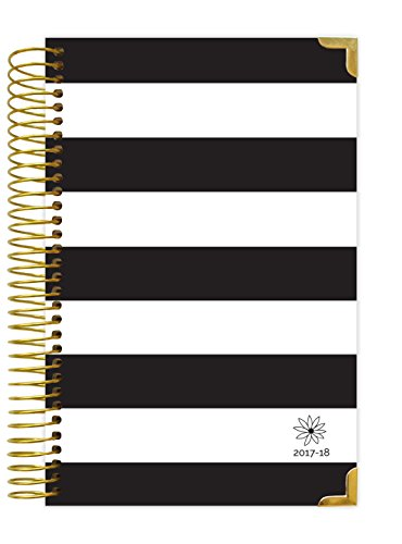 "bloom daily planners 2017-18 Academic Year HARD COVER Daily Planner - Passion/Goal Organizer - Monthly and Weekly Datebook and Calendar - August 2017 - July 2018 - 6"" x 8.25"" - Black & White Stripes"