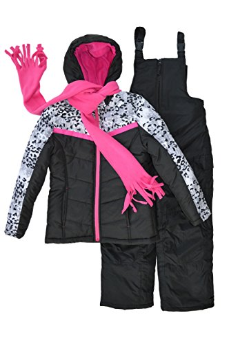 Snowsuits for Kids Girl's 3-Piece Leopard Print Snowsuit (5-6, Black Print)