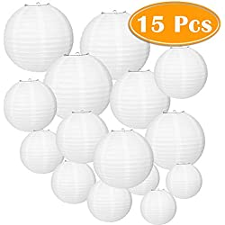 Paxcoo 15 Packs White Round Paper Lanterns with Assorted Sizes for Wedding Party Decorations