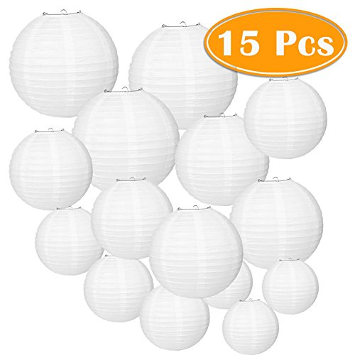 Paxcoo 15 Packs White Round Paper Lanterns with Assorted Sizes for Wedding Party Decorations ()