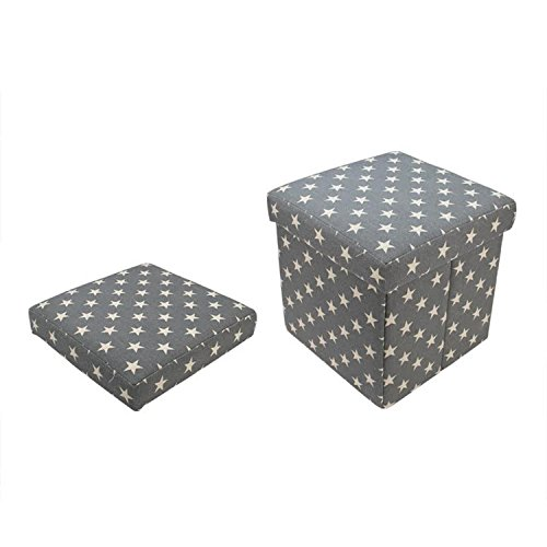 "12"" Decorative Gray and White Star Collapsible Sqaure Storage Ottoman"