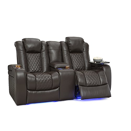 Seatcraft Anthem Home Theater Seating Leather Power Recline Loveseat with Center Storage Console, Powered Headrests, Storage, and Cupholders (Brown) by SEATCRAFT