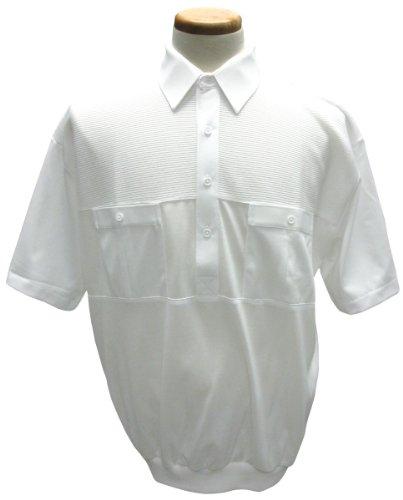 - Palmland 2 Pocket Solid Banded Bottom Polo Shirt Wht