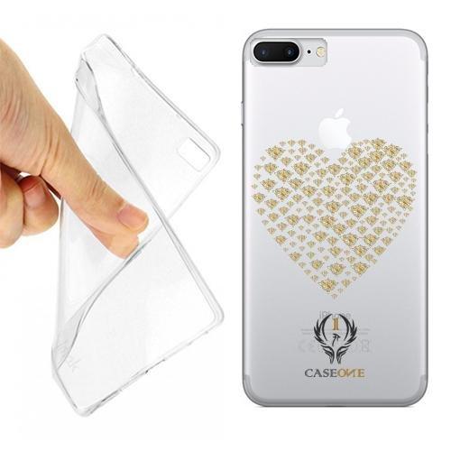Caseone linea top CUSTODIA COVER CASE DAMASK HEART PER IPHONE 7 PLUS TRASPARENTE