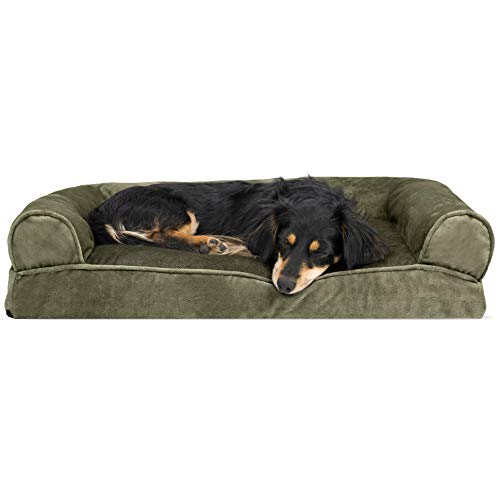 FurHaven Pet Dog Bed | Faux Fur & Velvet Pillow Sofa-Style Couch Pet Bed for Dogs & Cats, Dark Sage, Medium