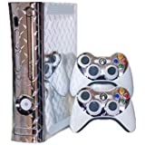 Microsoft Xbox 360 Skin (1st Gen) - NEW - SILVER DIAMOND PLATE MIRROR system skins faceplate decal mod