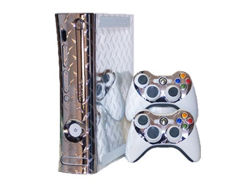 Microsoft Xbox 360 Skin (1st Gen) - NEW - SILVER DIAMOND PLATE MIRROR system skins faceplate decal mod (Skins Console Xbox 1st 360 Gen)