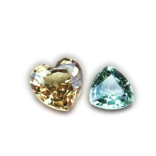 (Lovemom 1.30ct/2pcs Natural Heart Yellow-Green Sapphire Songea Tanzania #R)