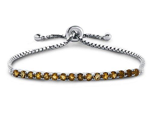 Finejewelers Sterling Silver Slider Chain Adjustable Bracelet with 16 Round Citrine Stones