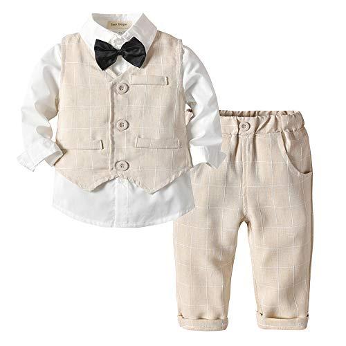 Tem Doger Baby Boys Plaid Button Down Casual Dress Shirt Slim Fit +Vest+Pant Outfits (100/18-24 Months, Brown)