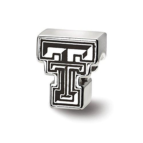 LogoArt NCAA Sterling Silver Texas Tech University Block TT Enamel Bead Charm from LogoArt