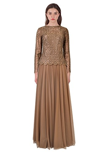 Tadashi Shoji Cutout Illusion Long Sleeve Evening Gown Dress