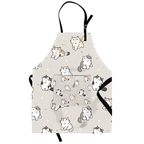 Qchengsan Cat Apron,Cute Cat Animal Image Unisex Kitchen Bib Apron with Pocket and Adjustable Neck for Cooking Baking Gardening (19