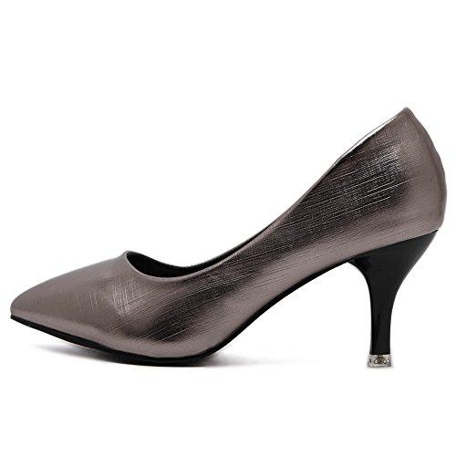 Womens ohne AdeeSu Metall Urethanpumpen Verschluss Low Schuhe Cut Stilettos aus Oberteil Spikes aYfwdfUq
