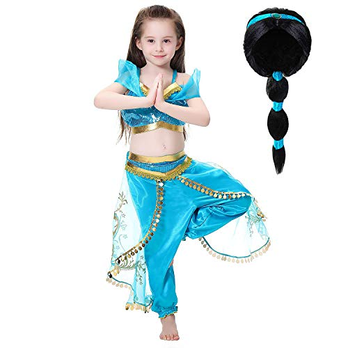Tacobear Princess Jasmine Costume for Girls Arabian Sequined Jasmine Dress up with Wig Tiara Wand Cosplay for Kids (110(3-4T), 01 Jasmine Costume with -