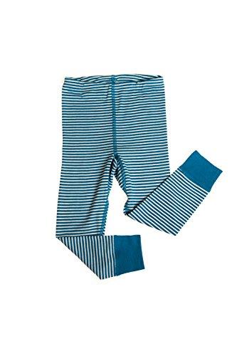 Hocosa of Switzerland Big Girls Organic Wool-Silk Long-Underwear Pants, Blue/White Stripe, s. 128/8 Yr