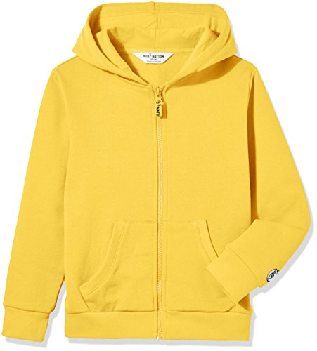 Kid Nation Kids' Soft Brushed Fleece Zip-Up Hooded Sweatshirt Hoodie for Boys or Girls XL Yellow 01