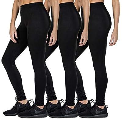 Love Charm Women's Premium Super Soft Full Length Brushed Black Leggings