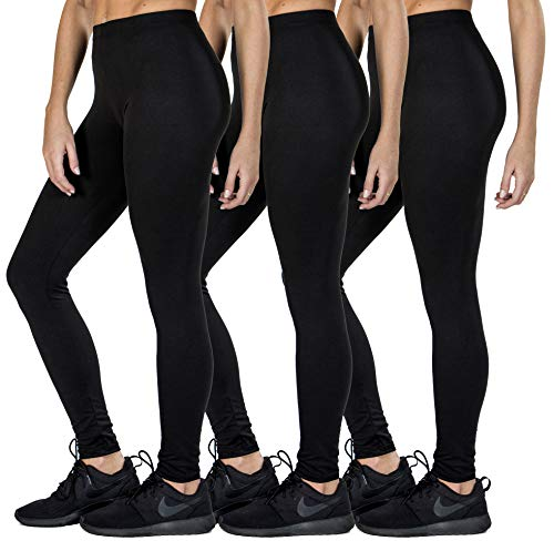 Love Charm Women's Super Soft Full Length Legging-Seamless Technology (3, L/XL) Black