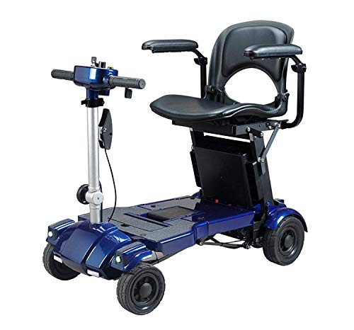 Iliving I3 Lightweight Foldable Electric Mobility Scooter, only 53 Pounds with Deluxe Seat, Adjustable Armrests, Basket-Carry Bag and Portable Charging Station (Blue) ()
