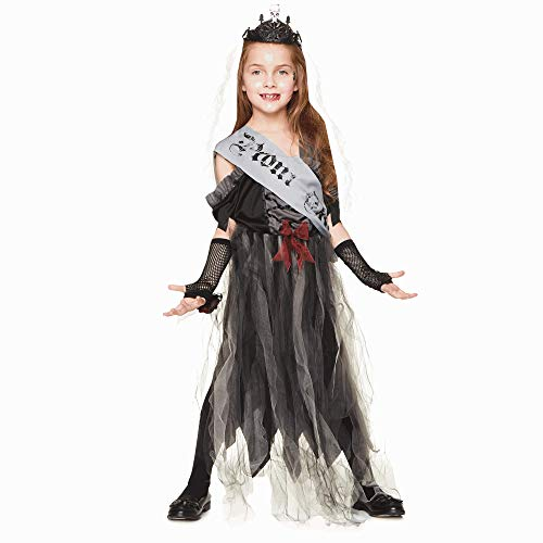 Goth Prom Queen Costume - Halloween Girls Dark Black Zombie Queen, Medium