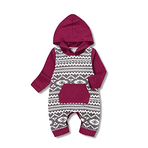 (Unmega Baby Boy Girl Long Sleeve Romper Hooded Jumpsuit Onesie Multicolor 90 / 6-12 months)