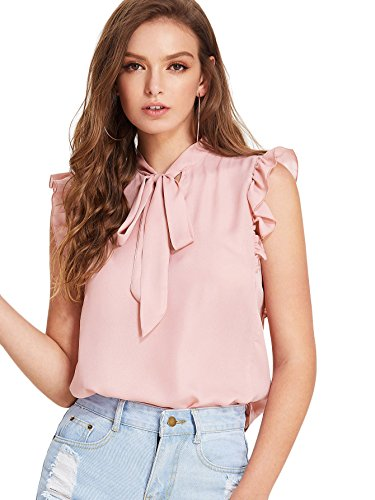WDIRA Women's Tie Neck Ruffle Armhole Sleeveless Elegant Blouse Workwear Tops Pink M