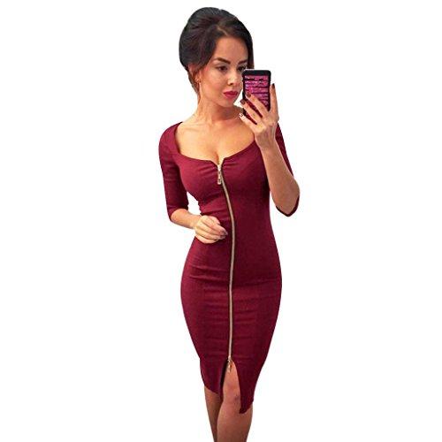 Women Hot Zipper Slim Half Sleeve Office Evening Party Dresses (S, Red) by Napoo-Women Dress