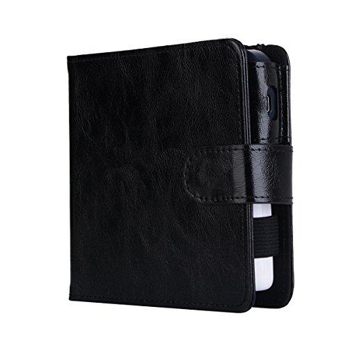 Cover Wallet Case, E-Cigarette Cover Case, Premium Leather Zipper Wallet Multifunctional Carry Case Removable Card Slot Pocket Pouch Flip Protective Case Compatible with ()