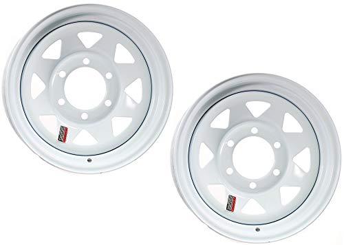 16 Inch 6 Spoke - 2-Pack Trailer Wheel White Rim 16 x 6 Spoke Style 6 Lug On 5.5 in. Center