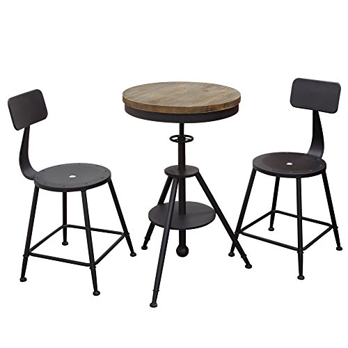 - Douglas Vintage Adjustable Height Bistro Table with Weathered Grey Top and Powder Coat Iron Base by Diamond Sofa- # DOUGLASBTBL