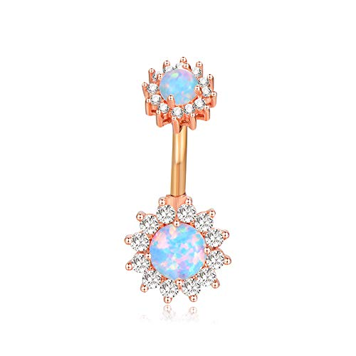 14g Blue Opal Belly Button Rings Rose Gold Double Flower Navel Ring Curved Barbell Body Piercing Jewelry