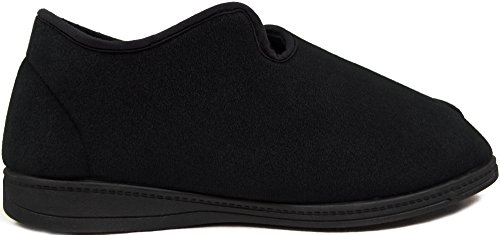EEE Twin Fitting Slippers Straps Black Mens Adjutable Gents with Orthopaedic RwHxREpq1