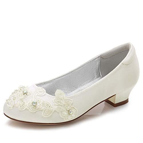 Elobaby Abend Spring Satin Hochzeit Partei Geschlossene 3 Flat Grundlegende Zehe cm Schuhe Frauen Ferse Silk Runde Ttr7vt