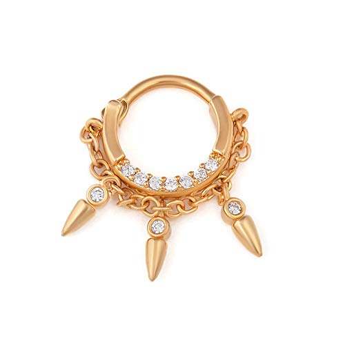 Painful Pleasures PVD Gold Coated Brass-Cast Septum Jewelry with 16g Steel Pin - Clicker Ring with Dangling Charms and Crystal Jewels