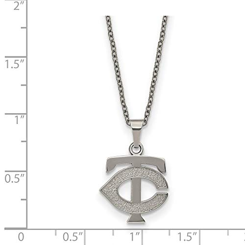 MLB Minnesota Twins Stainless Steel Minnesota Twins Pendant on chain with 2 in ext Necklace Size One Size