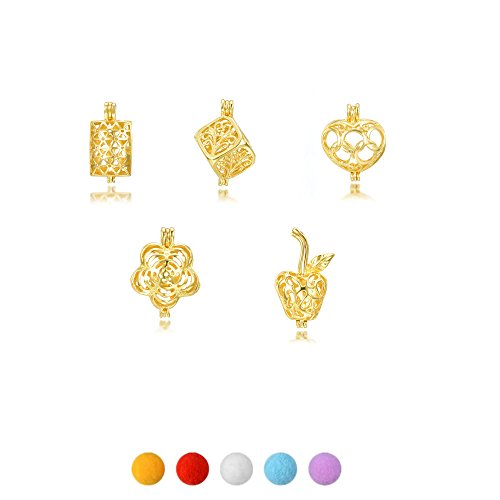 Gold Tone Pearl Charm - 10pcs Beads Cage Box Gold Tone Mix Style Bracelet Necklace Jewelry Making Trendy Pearl Cage Locket Pendant Essential Oil Diffuser Women Gifts