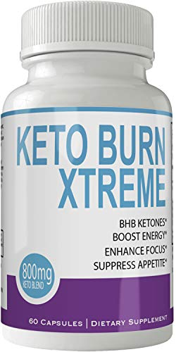 Keto Burn Xtreme Weight Loss Pills, Extreme Natural Ketogenic Burn Fat Supplement, 800 mg Formula with BHB Salts and Caffeine, Advanced Appetite Suppressant, Ketone 60 Count Powder Capsules