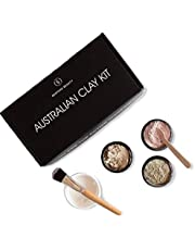 Caim & Able Australian Clay Beauty Skin Care Gift Set of Zeolite, White, Pink Clay Powder - Birthday Gifts For Women Her - Acne Oily Dry Natural Pure Pampering Kit