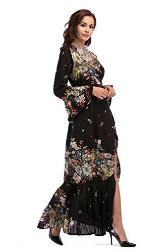 Elegante Stampato Estate Abiti Retro Sexy Abiti Come Donna Yuncai Immagine5 Floreale 65fPqwxCC