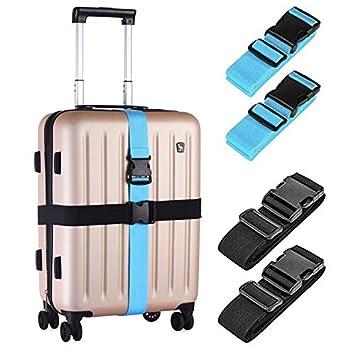 Amazon.com: Paquete de 4 correas de equipaje, correas ...