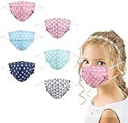 Kids Cloth Reusable Face Cover Washable, 6Pcs Cute Cotton Fabric